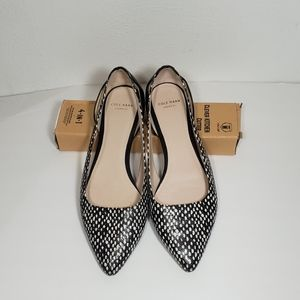 Cole Haan Black & White Polka Dot Pointed Toe Flat